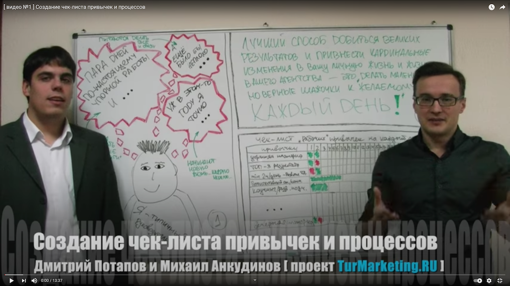[ видео №1 ] Создание чек-листа привычек и процессов — микрокурс TimeManagement директора агентства